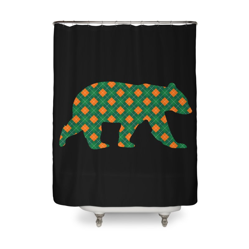St. Patricks Day Argyle Bear with Green, White and Orange Home Shower Curtain by The Bearly Brand