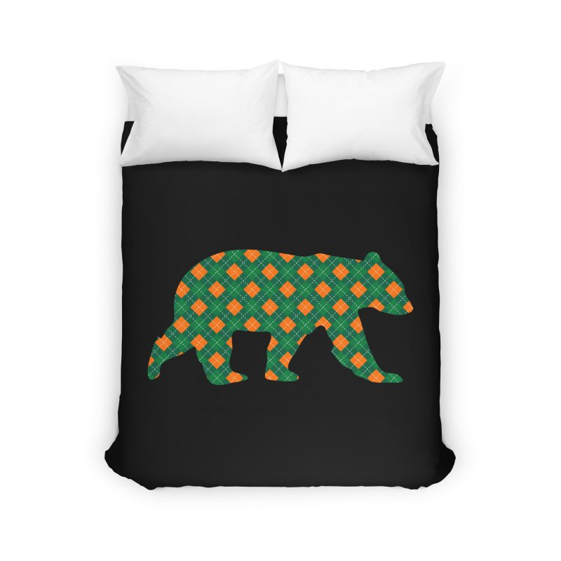 St. Patricks Day Argyle Bear with Green, White and Orange Home Duvet by The Bearly Brand