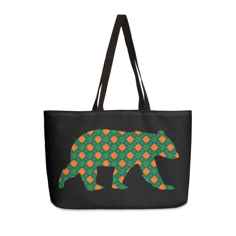 St. Patricks Day Argyle Bear with Green, White and Orange Accessories Bag by The Bearly Brand