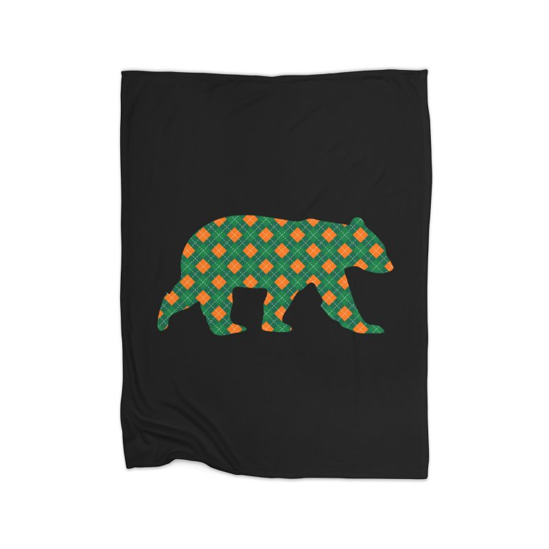 St. Patricks Day Argyle Bear with Green, White and Orange Home Blanket by The Bearly Brand