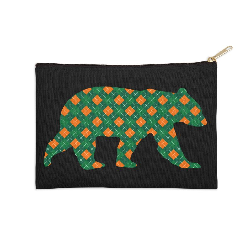 St. Patricks Day Argyle Bear with Green, White and Orange Accessories Zip Pouch by The Bearly Brand