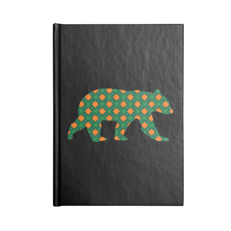St. Patricks Day Argyle Bear with Green, White and Orange Accessories Notebook by The Bearly Brand