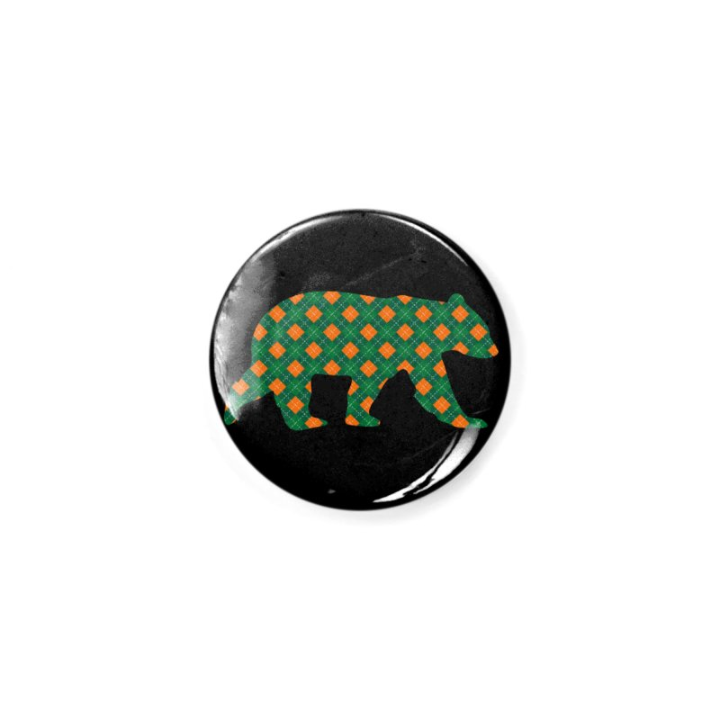St. Patricks Day Argyle Bear with Green, White and Orange Accessories Button by The Bearly Brand