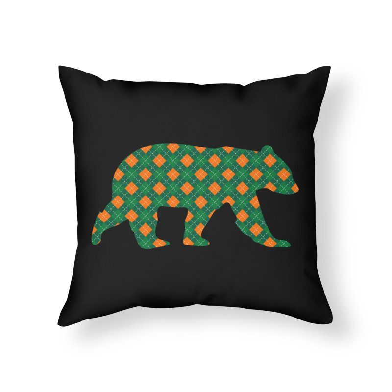 St. Patricks Day Argyle Bear with Green, White and Orange Home Throw Pillow by The Bearly Brand