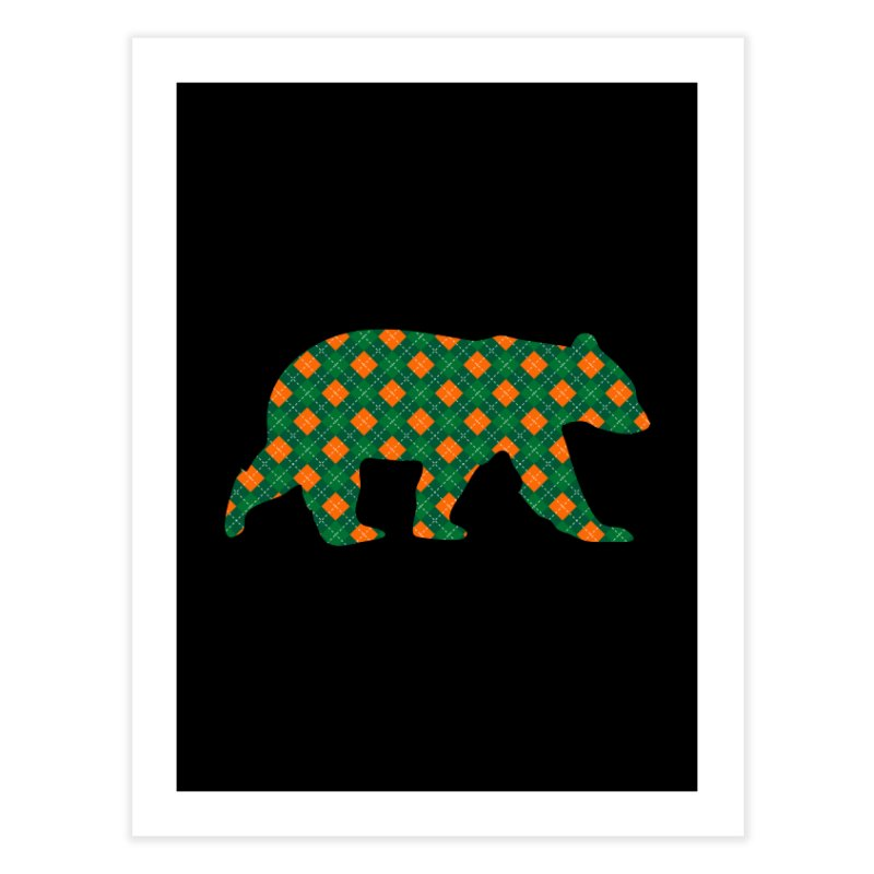 St. Patricks Day Argyle Bear with Green, White and Orange Home Fine Art Print by The Bearly Brand