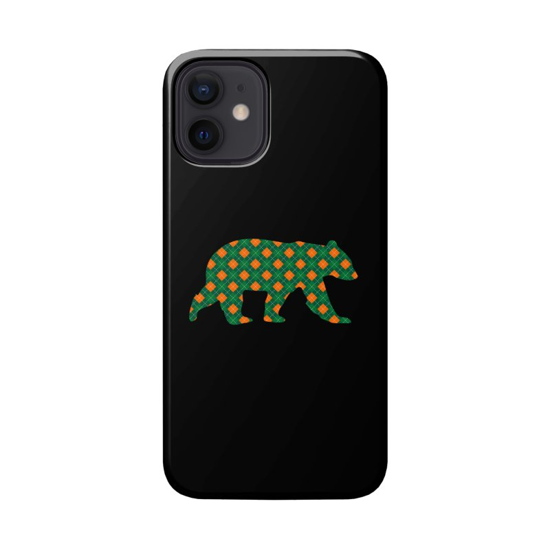 St. Patricks Day Argyle Bear with Green, White and Orange Accessories Phone Case by The Bearly Brand