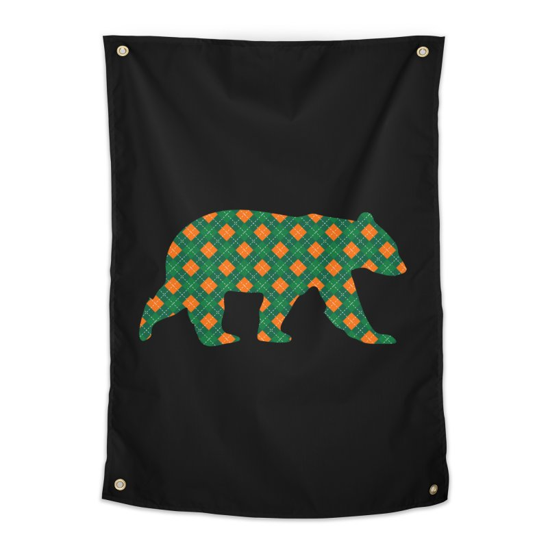St. Patricks Day Argyle Bear with Green, White and Orange Home Tapestry by The Bearly Brand