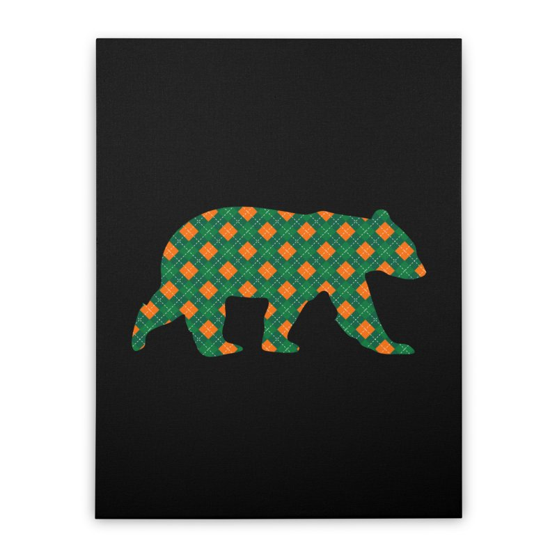 St. Patricks Day Argyle Bear with Green, White and Orange Home Stretched Canvas by The Bearly Brand