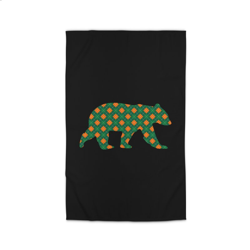 St. Patricks Day Argyle Bear with Green, White and Orange Home Rug by The Bearly Brand