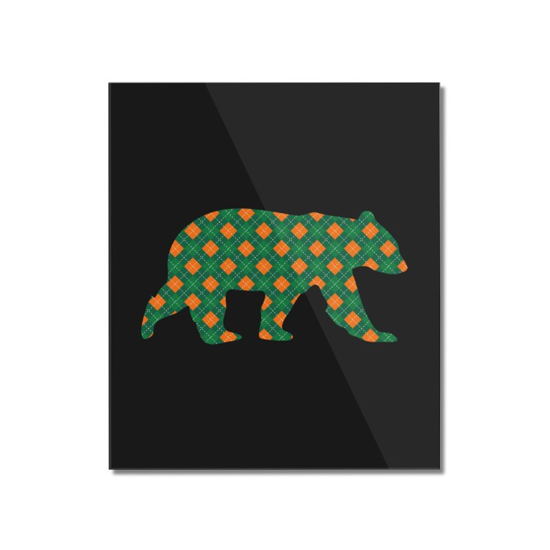 St. Patricks Day Argyle Bear with Green, White and Orange Home Mounted Acrylic Print by The Bearly Brand