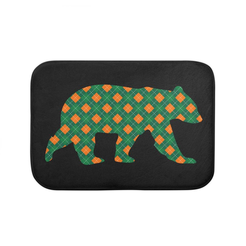 St. Patricks Day Argyle Bear with Green, White and Orange Home Bath Mat by The Bearly Brand