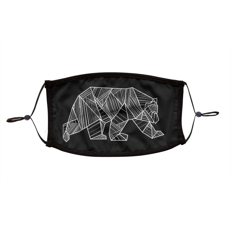 White Geometric Bear for Bear Lovers and Friends Accessories Face Mask by The Bearly Brand