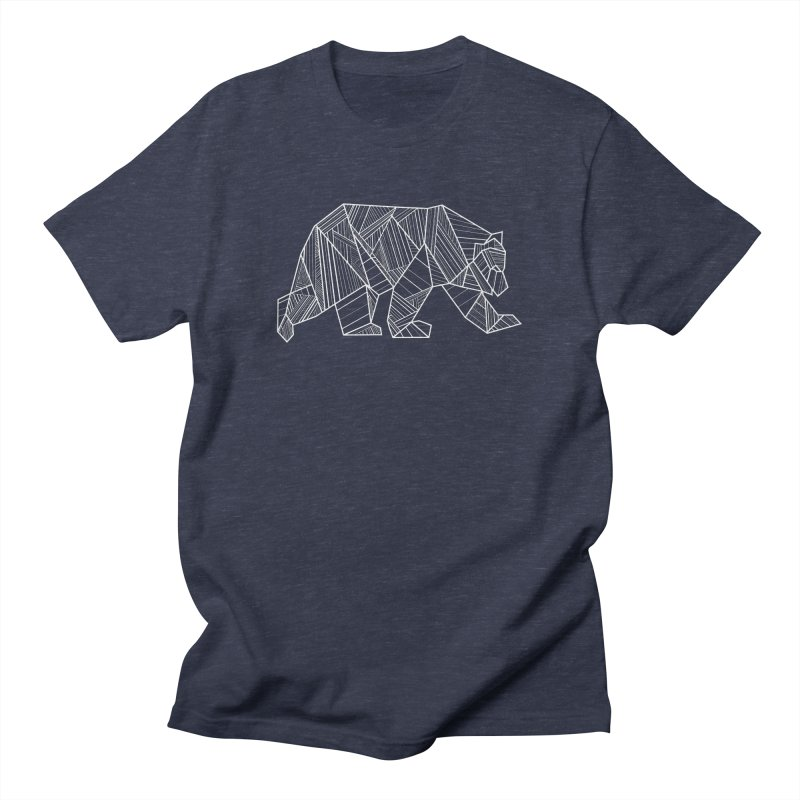 White Geometric Bear for Bear Lovers and Friends Men's T-Shirt by The Bearly Brand