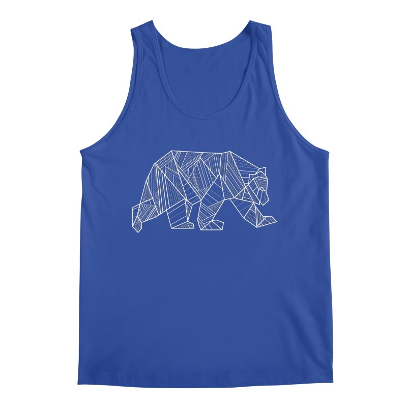 White Geometric Bear for Bear Lovers and Friends Men's Tank by The Bearly Brand
