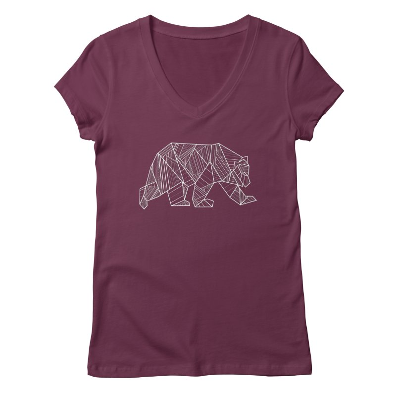 White Geometric Bear for Bear Lovers and Friends Women's V-Neck by The Bearly Brand
