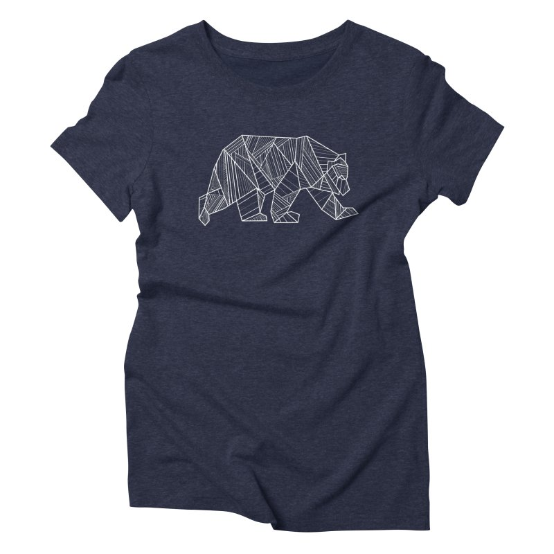 White Geometric Bear for Bear Lovers and Friends Women's T-Shirt by The Bearly Brand