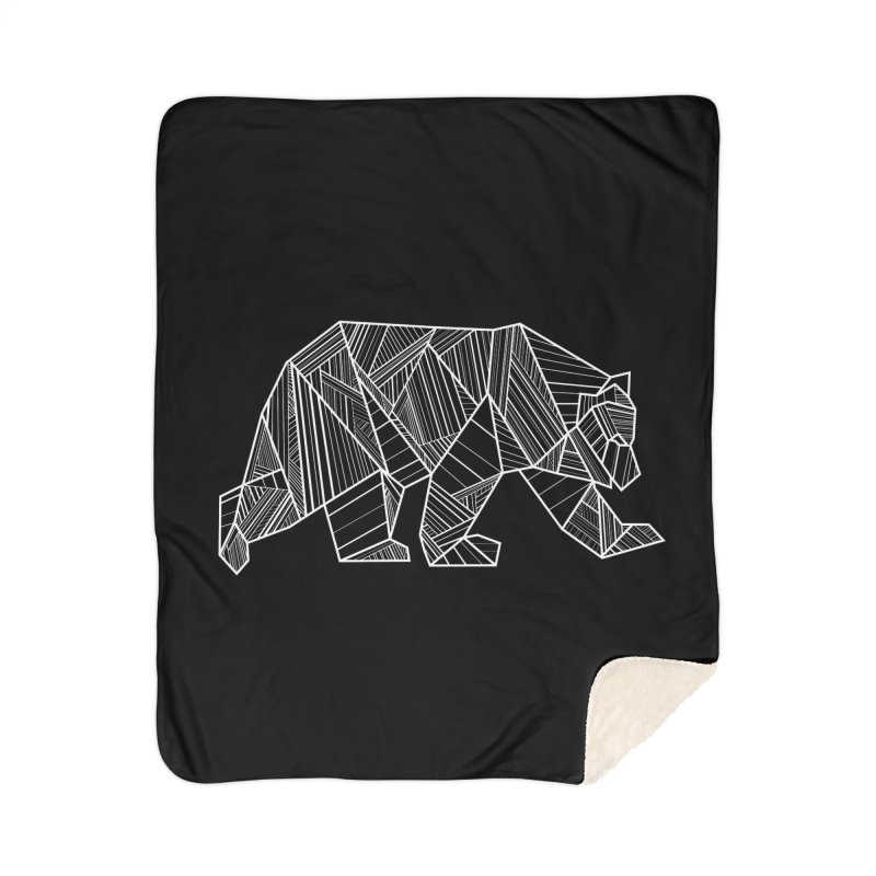 White Geometric Bear for Bear Lovers and Friends Home Blanket by The Bearly Brand