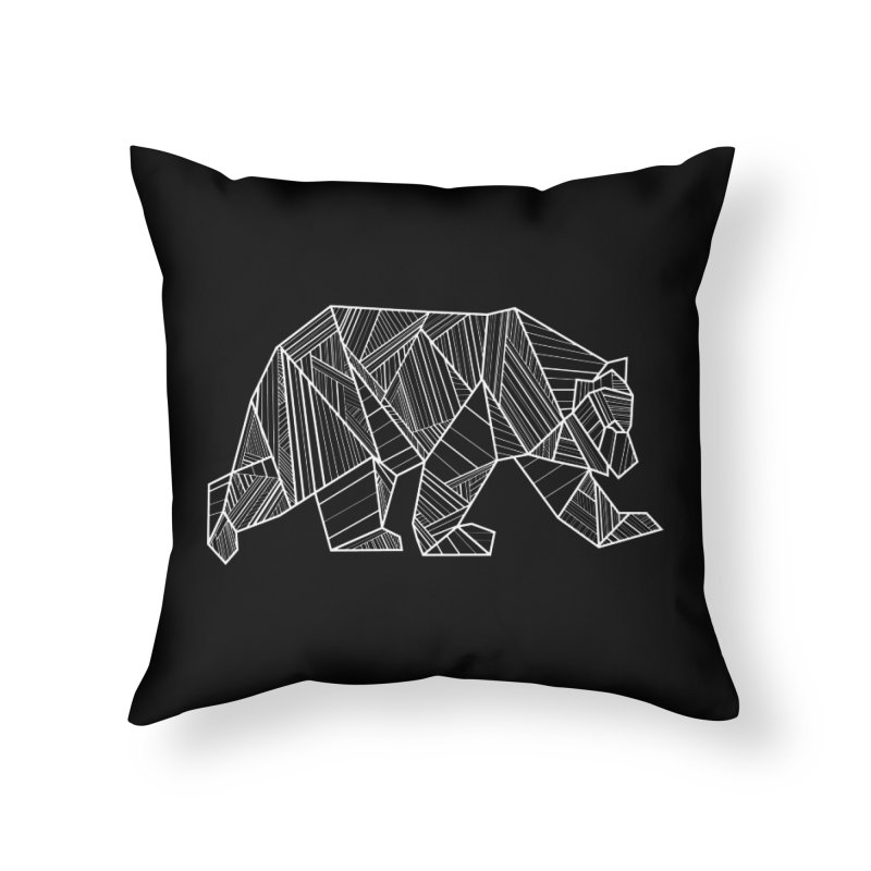 White Geometric Bear for Bear Lovers and Friends Home Throw Pillow by The Bearly Brand