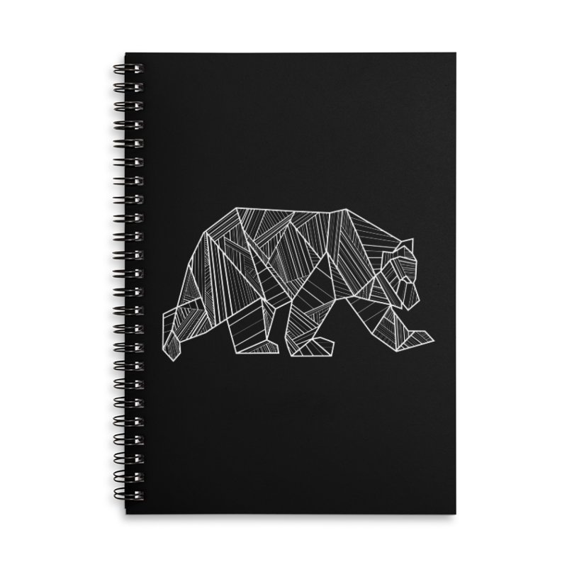 White Geometric Bear for Bear Lovers and Friends Accessories Notebook by The Bearly Brand