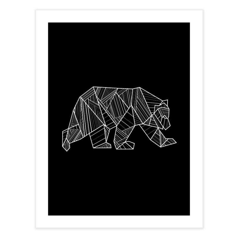 White Geometric Bear for Bear Lovers and Friends Home Fine Art Print by The Bearly Brand