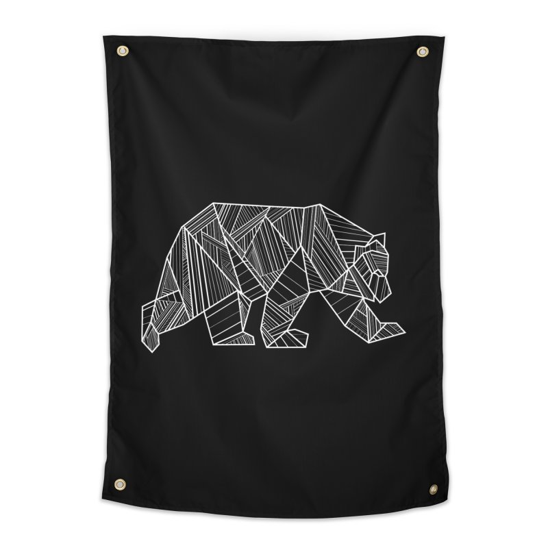 White Geometric Bear for Bear Lovers and Friends Home Tapestry by The Bearly Brand