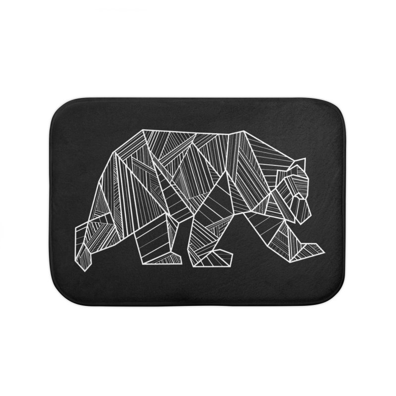 White Geometric Bear for Bear Lovers and Friends Home Bath Mat by The Bearly Brand
