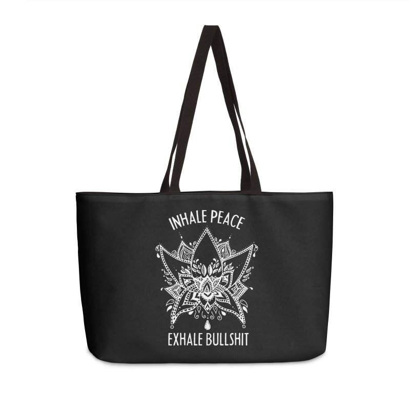 Hand drawn Inhale Peace and Exhale the Bullshit Meditation Practice Accessories Bag by The Bearly Brand