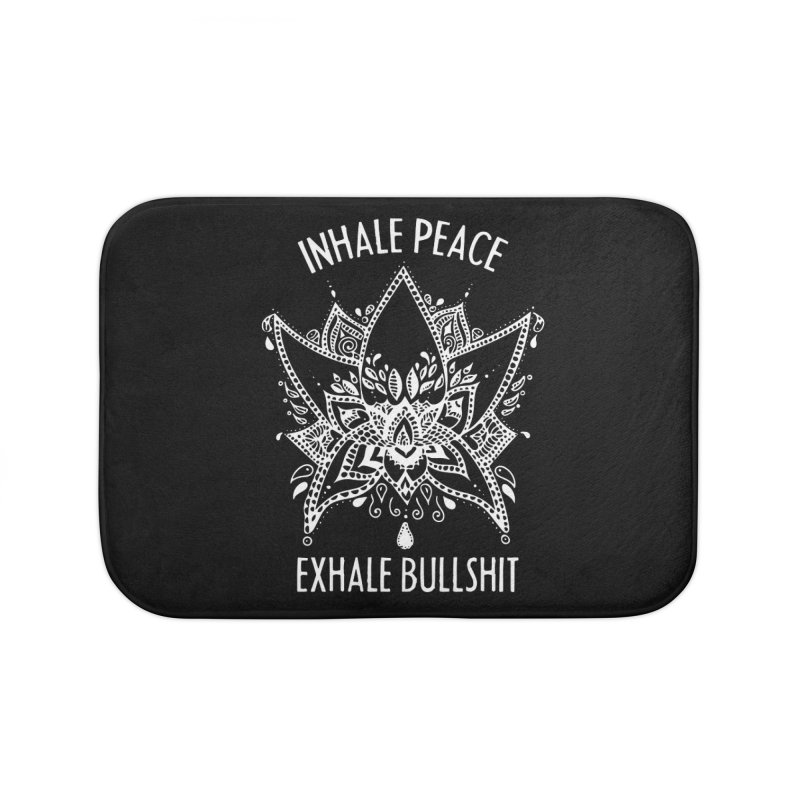 Hand drawn Inhale Peace and Exhale the Bullshit Meditation Practice Home Bath Mat by The Bearly Brand