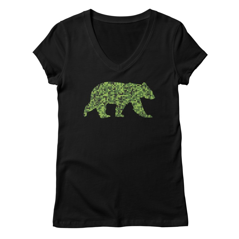 8Bit Green Camouflage Bear for Nerdy Bears and Gaymers Women's V-Neck by The Bearly Brand