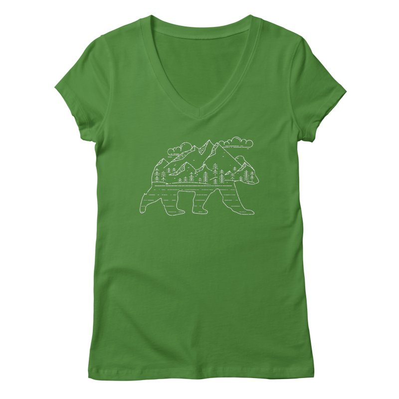 Mountain Scene Bear for Campers and Hikers Women's V-Neck by The Bearly Brand