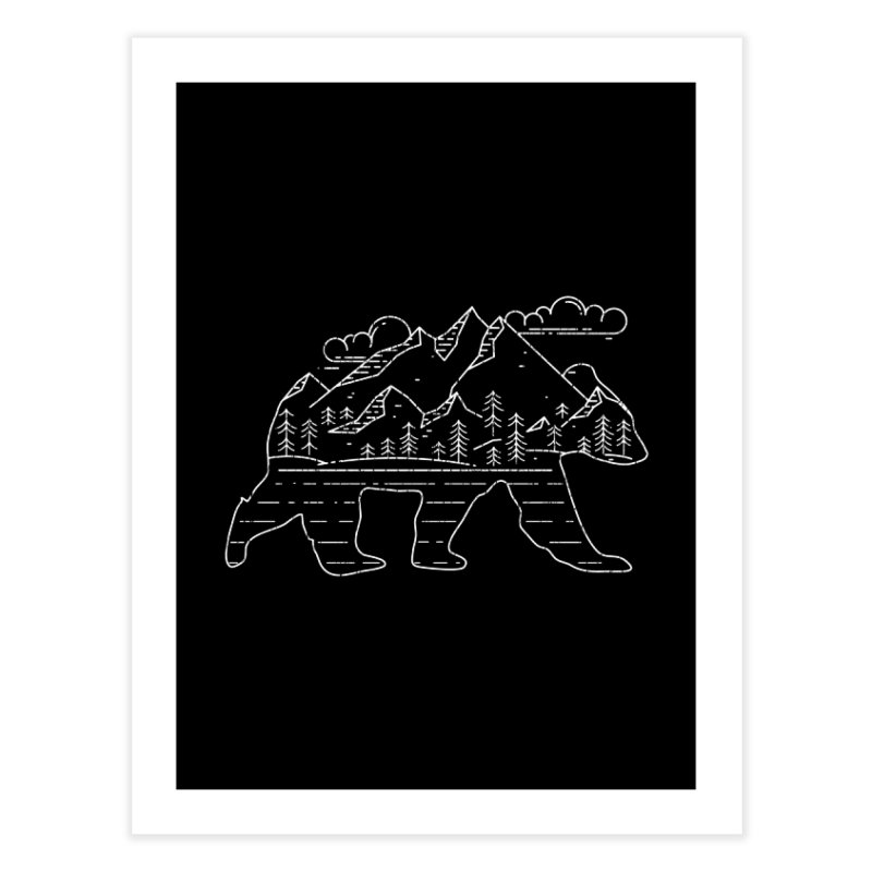 Mountain Scene Bear for Campers and Hikers Home Fine Art Print by The Bearly Brand