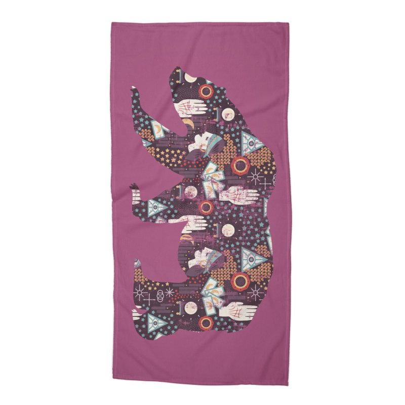 Fortune Teller Mystic Bear Psychic Accessories Beach Towel by The Bearly Brand