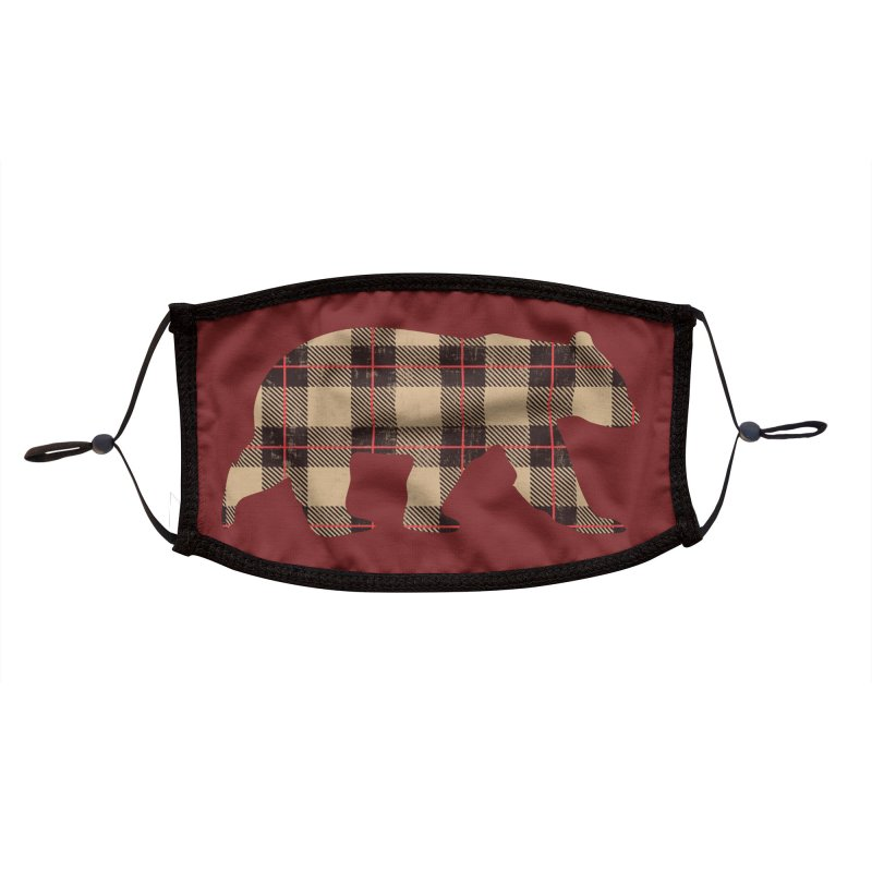 Furbeary Plaid Bear Brown Flannel Fashion Accessories Face Mask by The Bearly Brand