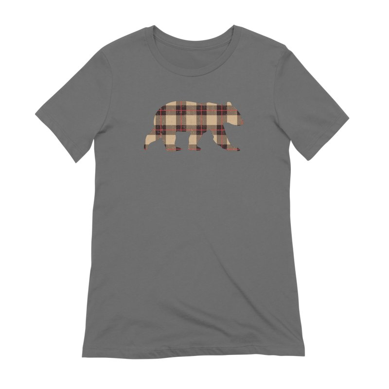 Furbeary Plaid Bear Brown Flannel Fashion Women's T-Shirt by The Bearly Brand