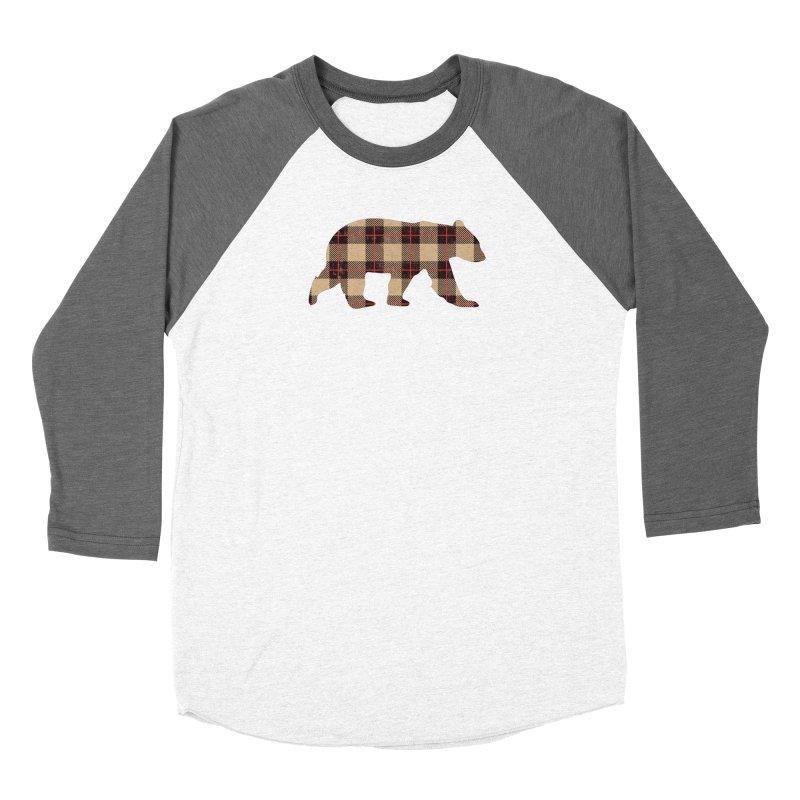 Furbeary Plaid Bear Brown Flannel Fashion Women's Longsleeve T-Shirt by The Bearly Brand