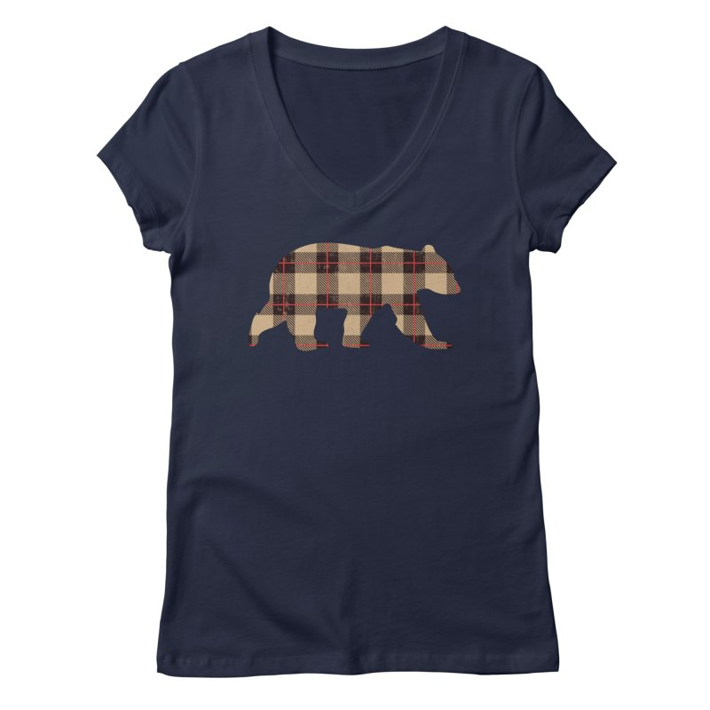Furbeary Plaid Bear Brown Flannel Fashion Women's V-Neck by The Bearly Brand
