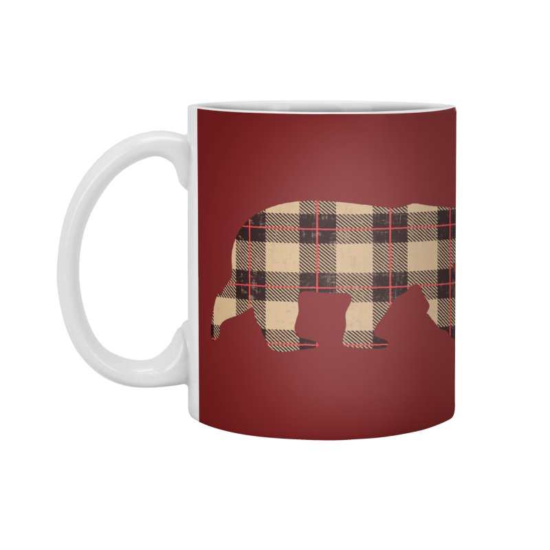 Furbeary Plaid Bear Brown Flannel Fashion Accessories Mug by The Bearly Brand