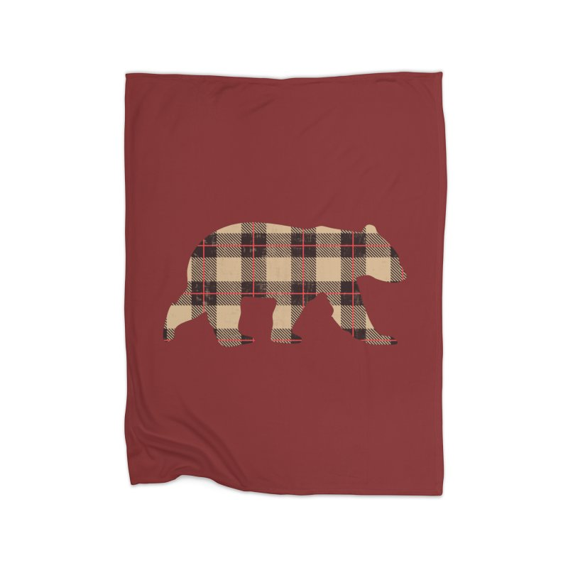 Furbeary Plaid Bear Brown Flannel Fashion Home Blanket by The Bearly Brand
