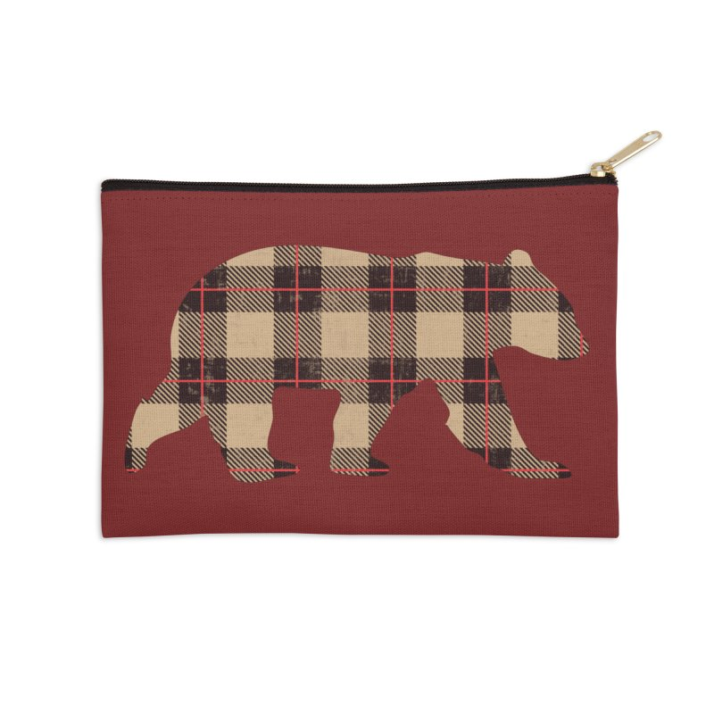 Furbeary Plaid Bear Brown Flannel Fashion Accessories Zip Pouch by The Bearly Brand