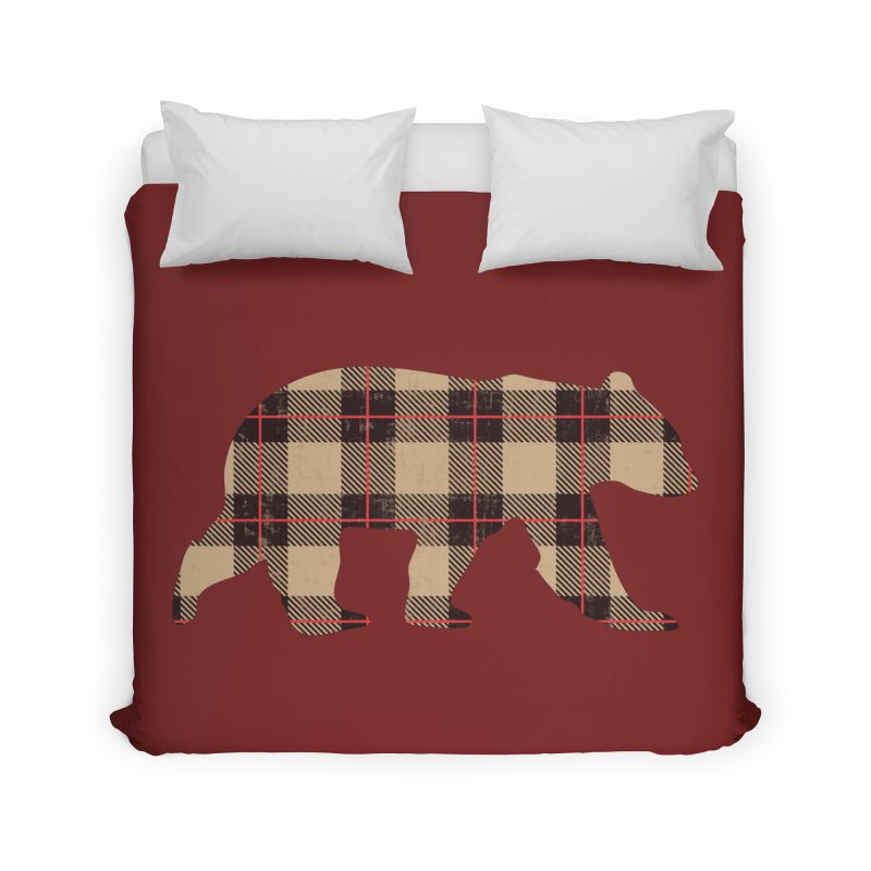 Furbeary Plaid Bear Brown Flannel Fashion Home Duvet by The Bearly Brand