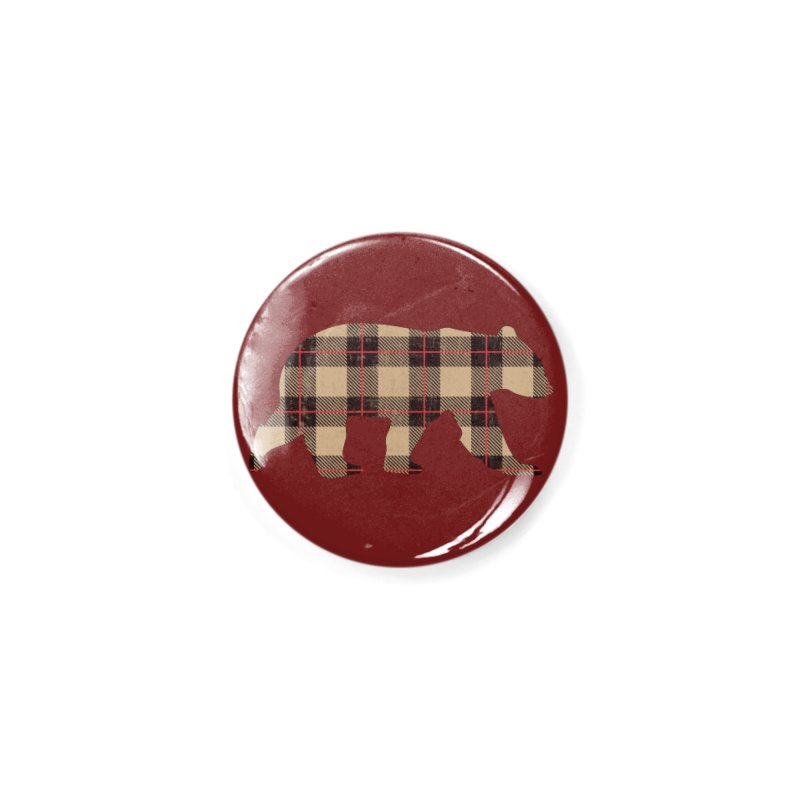 Furbeary Plaid Bear Brown Flannel Fashion Accessories Button by The Bearly Brand