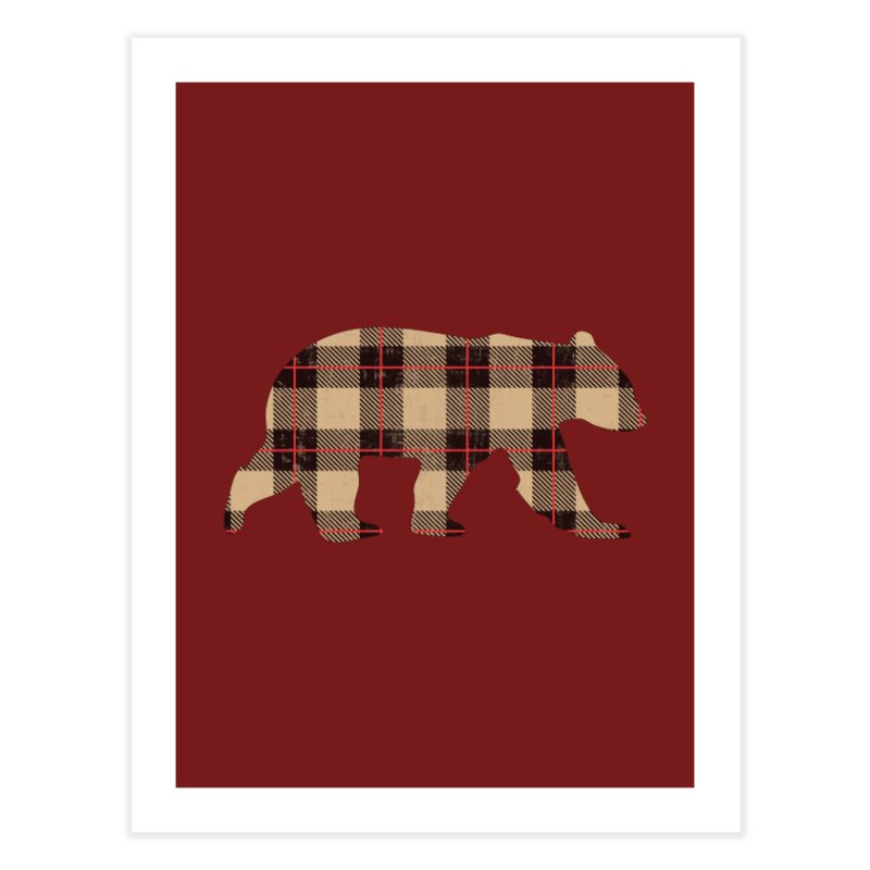 Furbeary Plaid Bear Brown Flannel Fashion Home Fine Art Print by The Bearly Brand