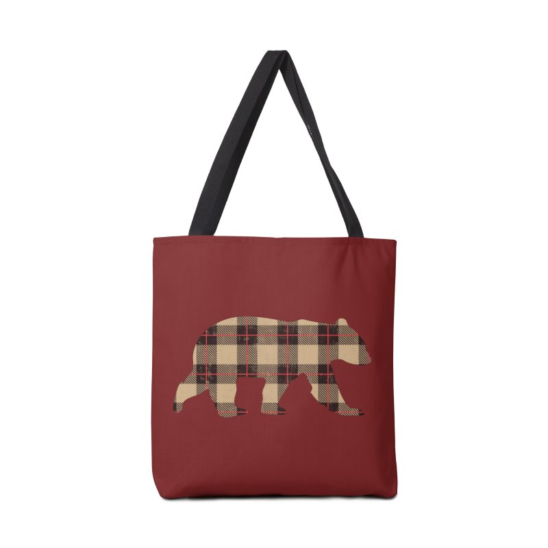 Furbeary Plaid Bear Brown Flannel Fashion Accessories Bag by The Bearly Brand