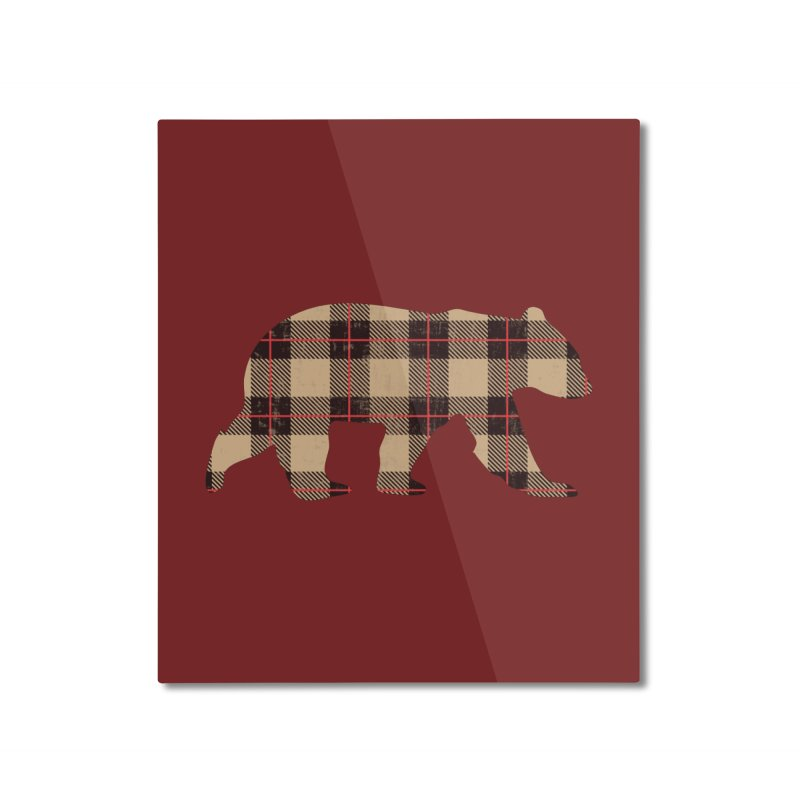 Furbeary Plaid Bear Brown Flannel Fashion Home Mounted Aluminum Print by The Bearly Brand