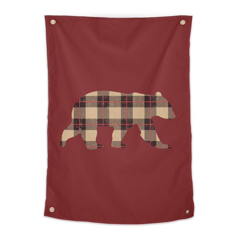 Furbeary Plaid Bear Brown Flannel Fashion Home Tapestry by The Bearly Brand