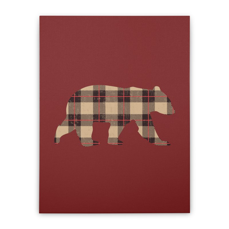 Furbeary Plaid Bear Brown Flannel Fashion Home Stretched Canvas by The Bearly Brand