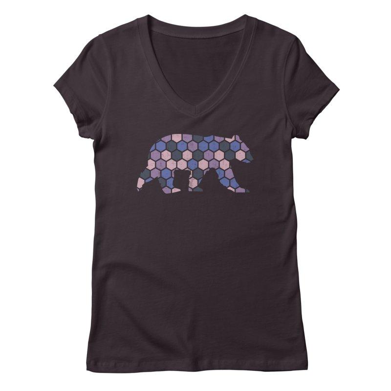 Honeycomb Bear Women's V-Neck by The Bearly Brand