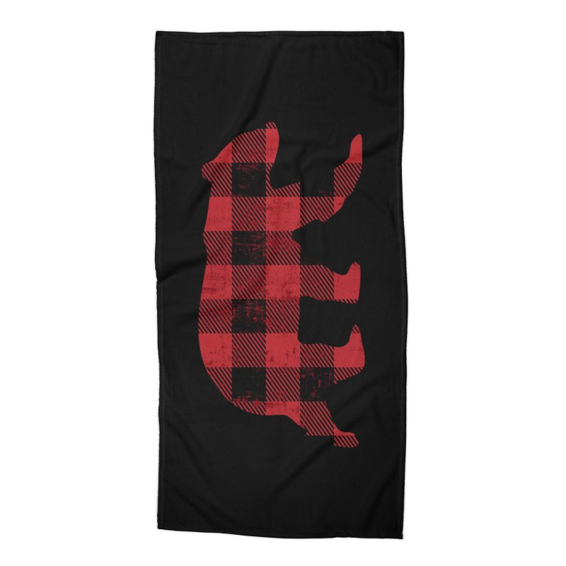 Red Flannel Bear Accessories Beach Towel by The Bearly Brand
