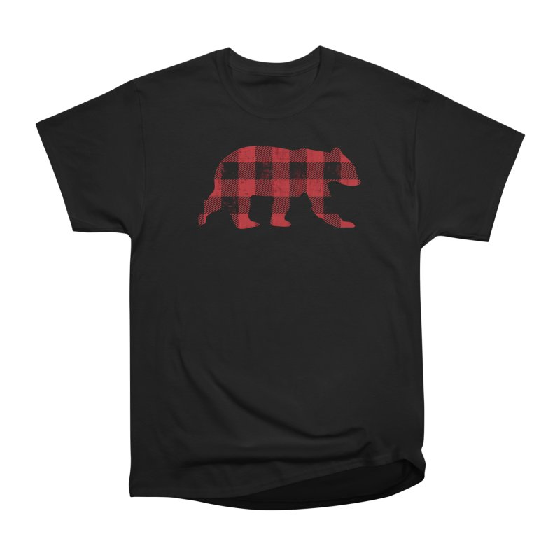 Red Flannel Bear in Men's Heavyweight T-Shirt Black by The Bearly Brand