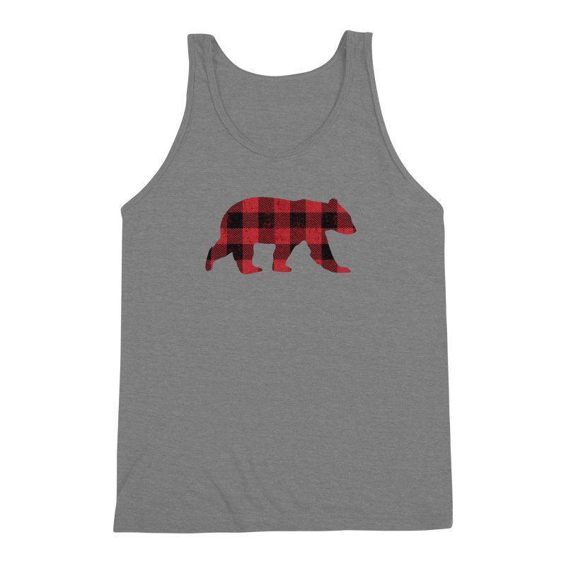 Red Flannel Bear Men's Triblend Tank by The Bearly Brand